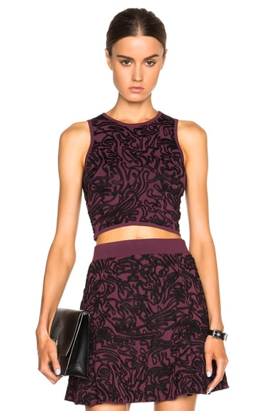 Opening Ceremony Cabbage Knit Crop Top in Beet