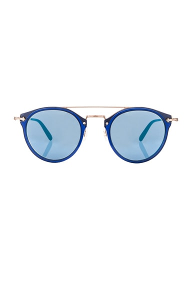 Oliver Peoples Remick Sunglasses in Denim & Brushed Rose Gold