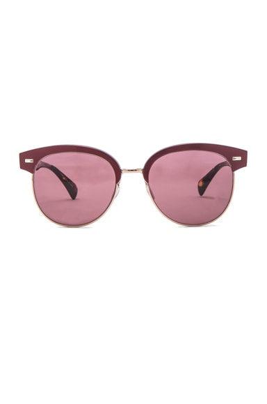 Oliver Peoples Shaelie Sunglasses in Burgundy & Brushed Rose Gold