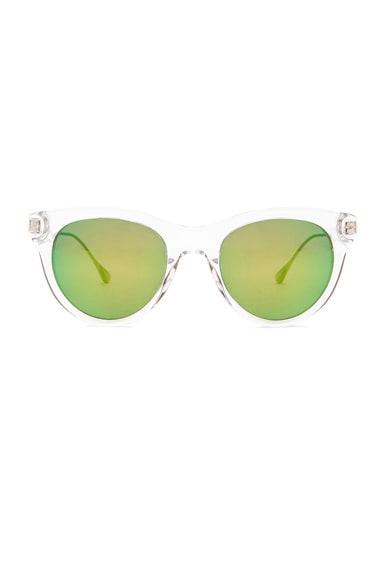 Oliver Peoples WEST Custom Latigo Sunglasses in Crystal & Green Mirror