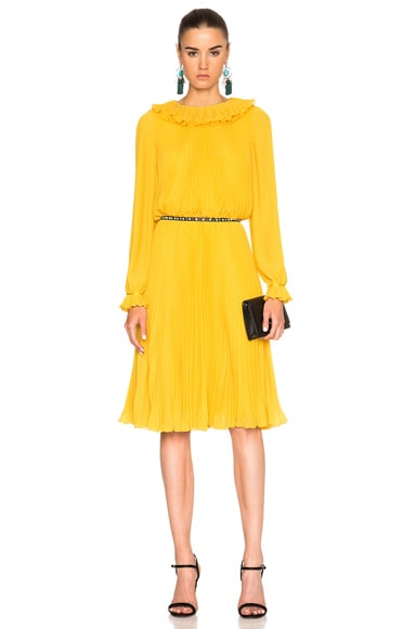 Oscar de la Renta Pleated Long Sleeve Dress in Marigold