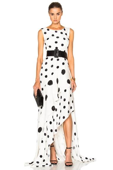 Oscar de la Renta Polka Dot Dress in Ivory & Black