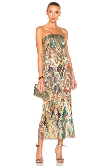 Oscar de la Renta Strapless Gown in Navy Multicolor
