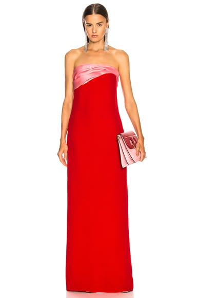 Contrast Bodice Strapless Gown