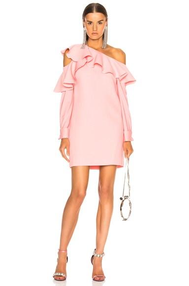 One Shoulder Ruffle Trim Mini Dress