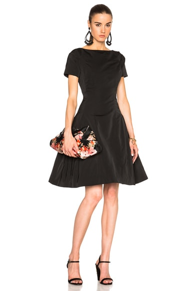 Oscar de la Renta Short Sleeve Cocktail Dress in Black