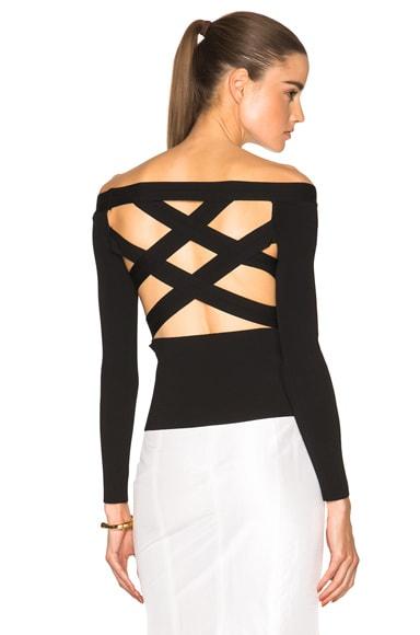 Oscar de la Renta Crossback Open Shoulder Sweater in Black