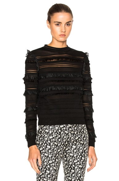 Oscar de la Renta Ruffle Pullover Sweater in Black