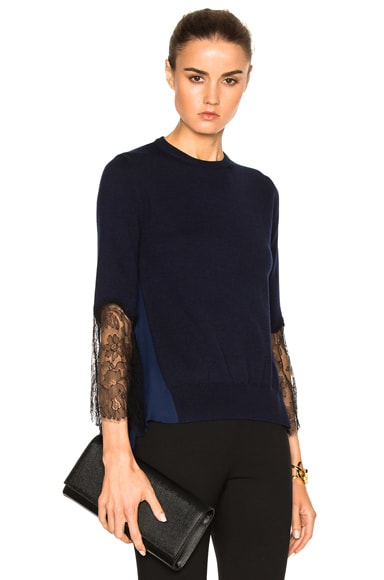 Oscar de la Renta Lace Sleeve Asymmetric Sweater in Navy Black