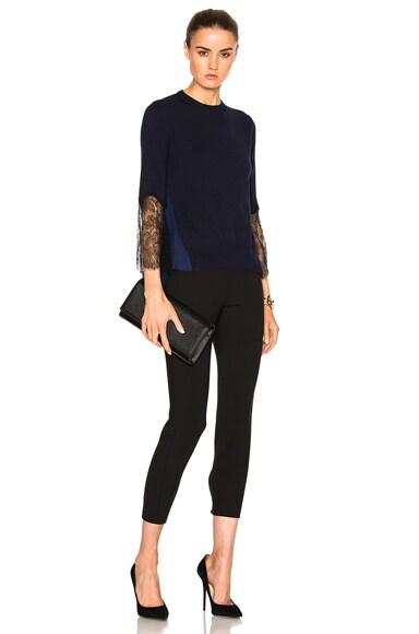 Lace Sleeve Asymmetric Sweater