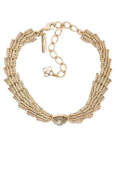 Oscar de la Renta Wistera Crystal Necklace in Gold