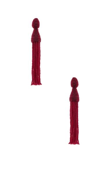 Oscar de la Renta Long Beaded Tassel Earrings in Bordeaux