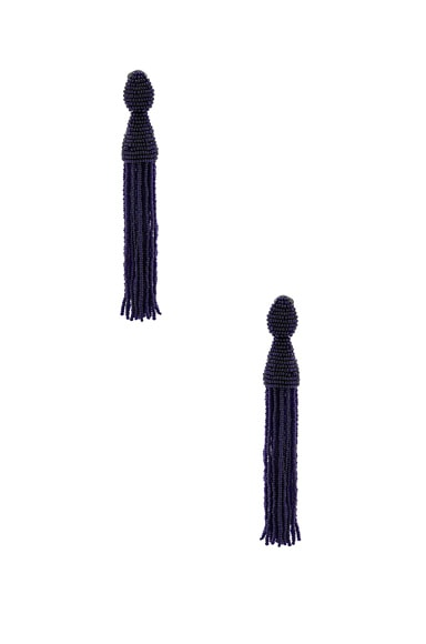 Oscar de la Renta Long Beaded Tassel Earrings in Midnight