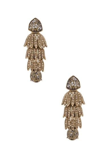 Oscar de la Renta Wisteria Triple Tier Crystal Earrings in Gold