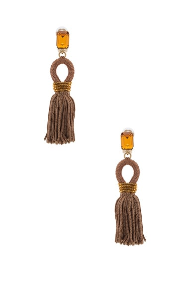 Oscar de la Renta Short Silk Tassel Earrings in Taupe