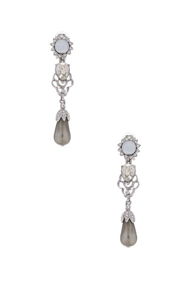Oscar de la Renta Crystal & Pearl Drop Earrings in Crystal Shade & Silver