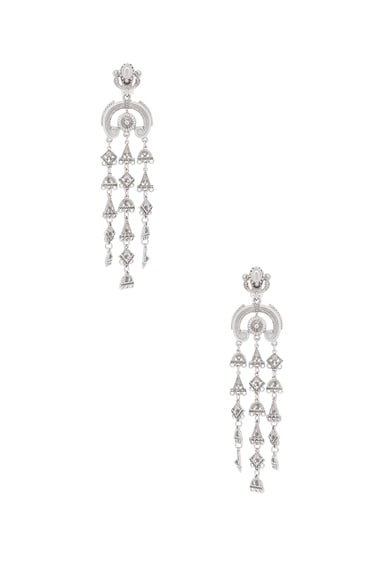 Oscar de la Renta Ornate Charm Chandelier Earring in Silver