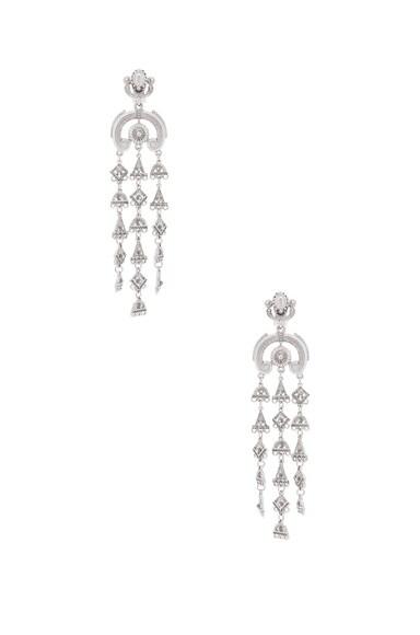 Oscar de la Renta Ornate Charm Chandelier Earring in Silver