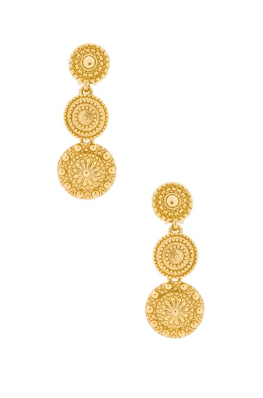 Oscar de la Renta Textured Metal Disc Earring in Gold