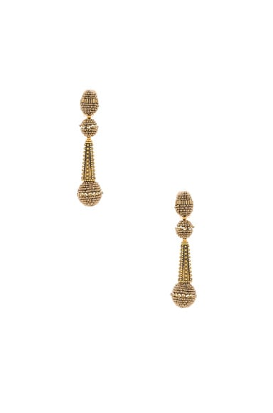 Oscar de la Renta Beaded Drop Earring in Gold