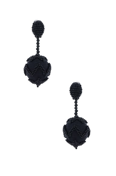 Oscar de la Renta Beaded Chevron Ball Earring in Black