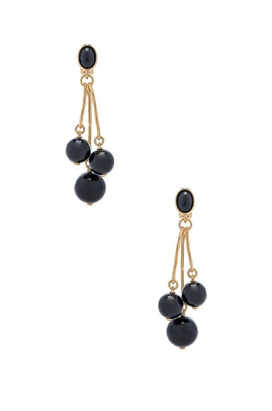 Oscar de la Renta Resin 3 Ball Drop Earring in Black