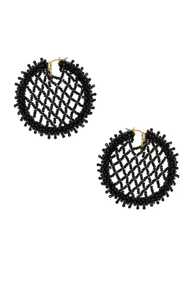 Oscar de la Renta Beaded Lattice Disc Earring in Black