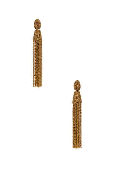 Oscar de la Renta Classic Long Chain Tassel Earrings in Gold