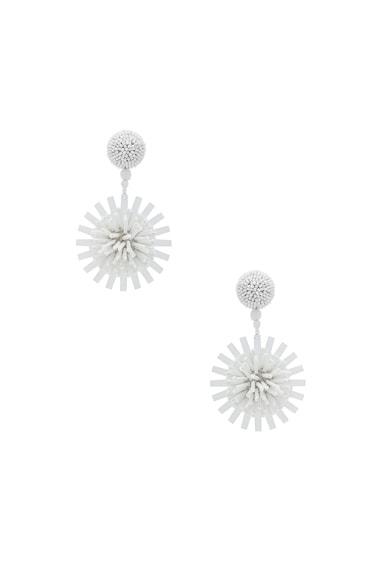 Pom Pom Flower Beaded Earrings