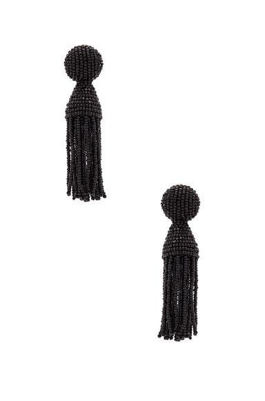 Oscar de la Renta Classic Short Tassel Earrings in Black