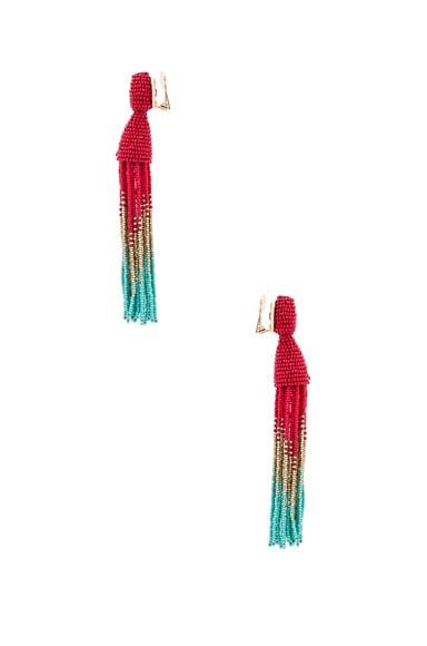 Obre Long Beaded Tassel Earrings