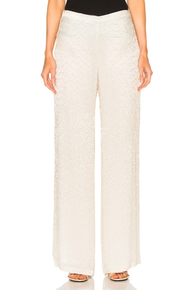 Oscar de la Renta Embellished Pant in Light Silver