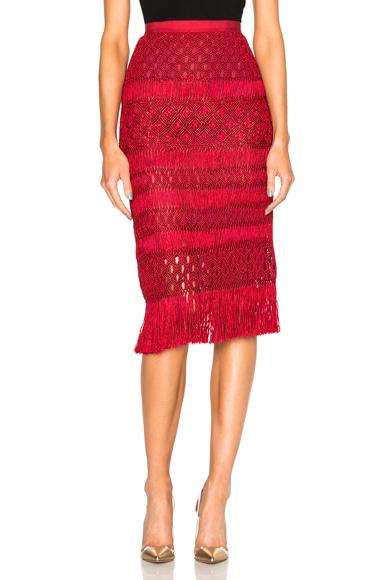 Oscar de la Renta Crochet Skirt in Ruby