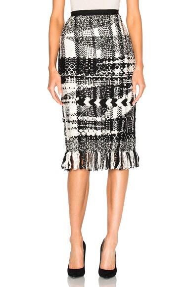 Oscar de la Renta Handmade Fringe Skirt in Camel & Black