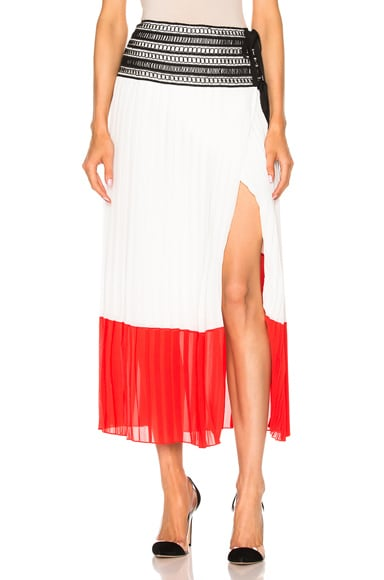 Oscar de la Renta Pleated Skirt in Cayenne & White