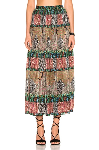 Oscar de la Renta Printed Skirt in Black Multicolor