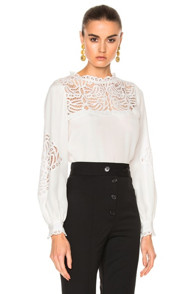 Oscar de la Renta Lace Trim Blouse in Ivory
