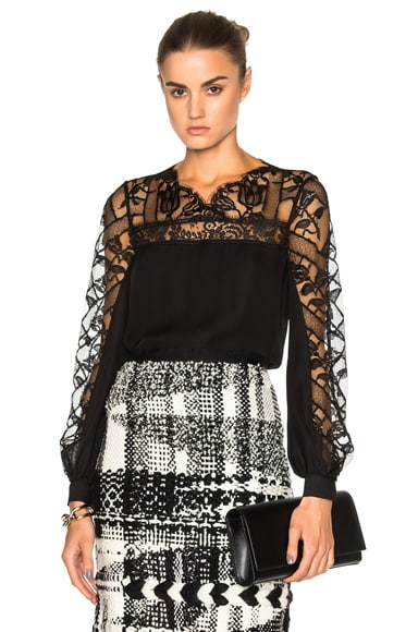 Oscar de la Renta Lace Blouse in Black