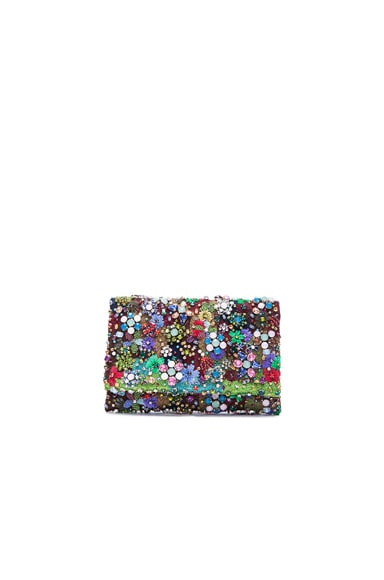 Oscar de la Renta Embroidered Satin Petite Evening Bag in Multi