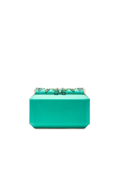 Oscar de la Renta Embroidered Satin Saya Clutch in Teal