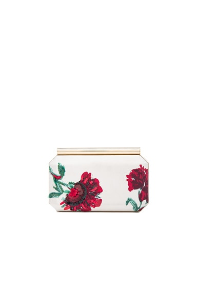 Oscar de la Renta Embroidered Satin Saya Clutch in White & Red