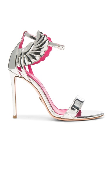 Oscar Tiye Leather Malikah Sandals in Silver Mirror