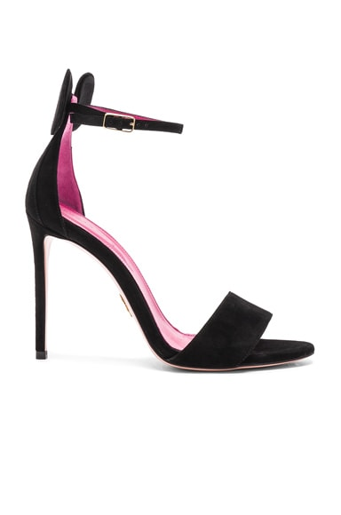 Oscar Tiye Suede Minnie Sandals in Black Suede