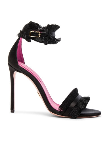 Oscar Tiye Satin Caroline Sandals in Black Satin