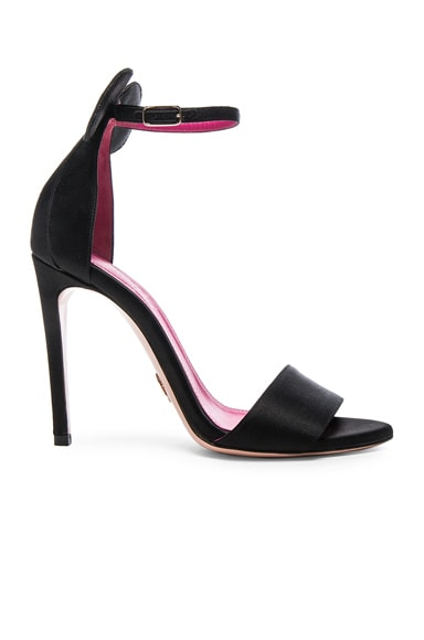 Oscar Tiye Minnie Satin Sandals in Black