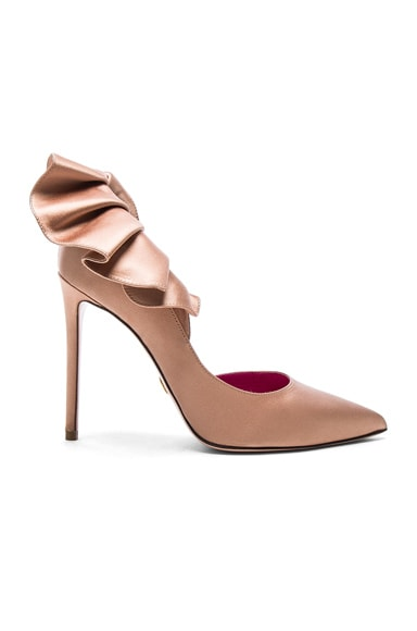 Oscar Tiye Satin Adele Pumps in Nude Satin