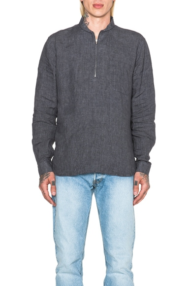 Our Legacy Linen Shawl Zip Shirt in Charcoal