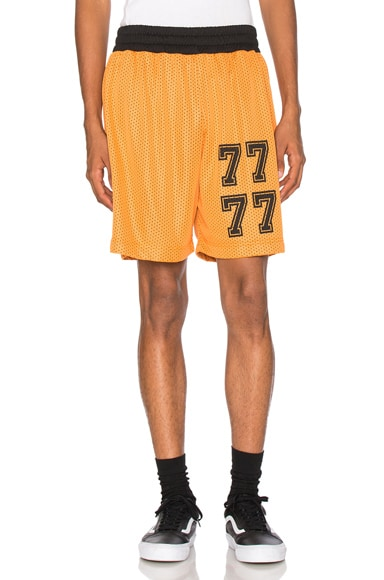 Palm Angels Mesh Shorts in Orange & Black