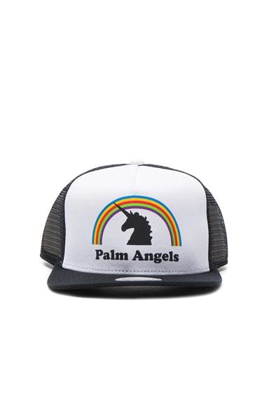 Palm Angels Unicorns Do Exist Cap in White & Multicolor