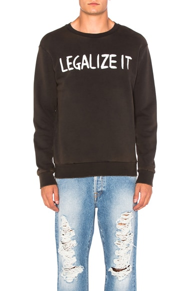 Palm Angels Legalize It Crewneck in Black & White